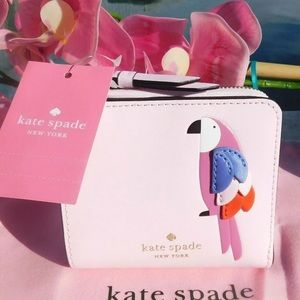 Kate Spade Flock Party Parrot Small L-zip wallet